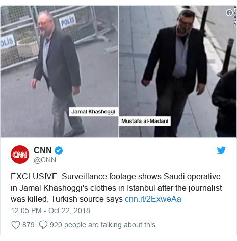 Twitter post by @CNN: EXCLUSIVE  Surveillance footage shows Saudi operative in Jamal Khashoggi's clothes in Istanbul after the journalist was killed, Turkish source says