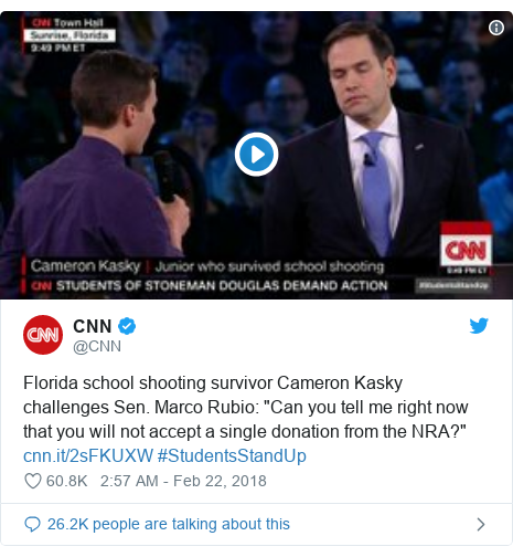 "Twitter post by @CNN: Florida school shooting survivor Cameron Kasky challenges Sen. Marco Rubio  ""Can you tell me right now that you will not accept a single donation from the NRA?""  #StudentsStandUp"