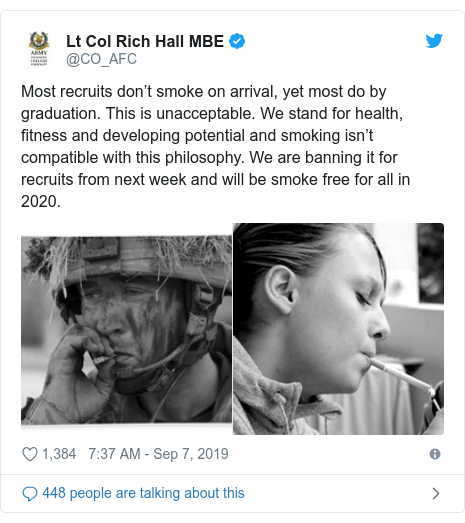 Twitter post by @CO_AFC: Most recruits don't smoke on arrival, yet most do by graduation. This is unacceptable. We stand for health, fitness and developing potential and smoking isn't compatible with this philosophy. We are banning it for recruits from next week and will be smoke free for all in 2020.