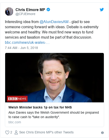 Twitter post by @CPJElmore: Interesting idea from @AlunDaviesAM - glad to see someone coming forward with ideas. Debate is extremity welcome and healthy. We must find new ways to fund services and taxation must be part of that discussion.