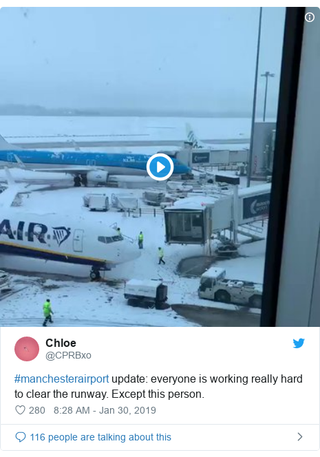 Twitter post by @CPRBxo: #manchesterairport update  everyone is working really hard to clear the runway. Except this person.