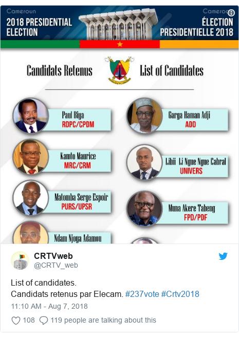 Twitter post by @CRTV_web: List of candidates.Candidats retenus par Elecam. #237vote #Crtv2018