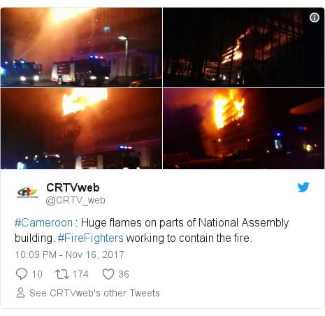 Twitter post by @CRTV_web: #Cameroon   Huge flames on parts of National Assembly building. #FireFighters working to contain the fire.