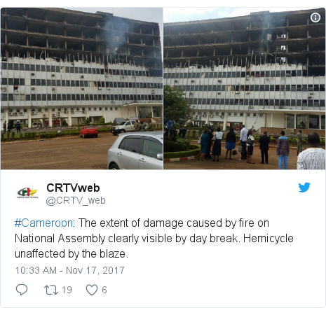 Twitter post by @CRTV_web: #Cameroon  The extent of damage caused by fire on National Assembly clearly visible by day break. Hemicycle unaffected by the blaze.