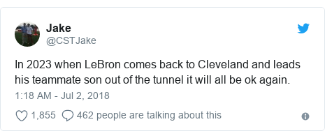 Twitter post by @CSTJake: In 2023 when LeBron comes back to Cleveland and leads his teammate son out of the tunnel it will all be ok again.