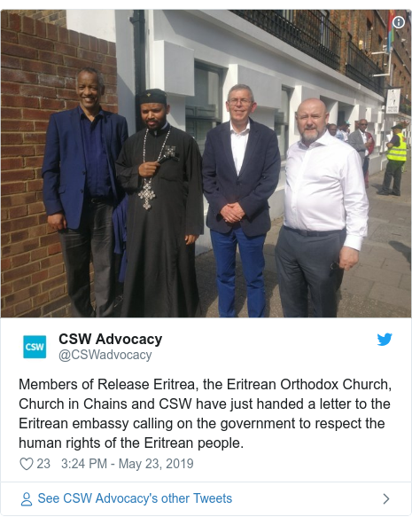 Twitter post by @CSWadvocacy: Members of Release Eritrea, the Eritrean Orthodox Church, Church in Chains and CSW have just handed a letter to the Eritrean embassy calling on the government to respect the human rights of the Eritrean people.