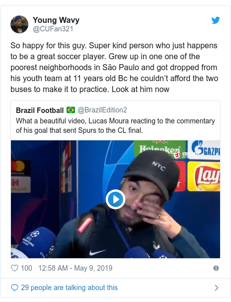 Twitter post by @CUFan321: So happy for this guy. Super kind person who just happens to be a great soccer player. Grew up in one one of the poorest neighborhoods in São Paulo and got dropped from his youth team at 11 years old Bc he couldn't afford the two buses to make it to practice. Look at him now