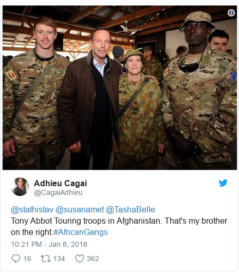 Twitter post by @CagaiAdhieu: @stathistav @susanamet @TashaBelle Tony Abbot Touring troops in Afghanistan. That's my brother on the right.#AfricanGangs