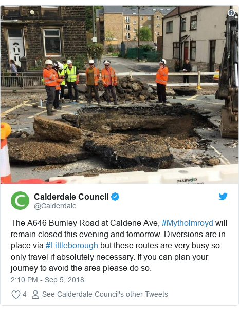 Twitter post by @Calderdale: The A646 Burnley Road at Caldene Ave, #Mytholmroyd will remain closed this evening and tomorrow. Diversions are in place via #Littleborough but these routes are very busy so only travel if absolutely necessary. If you can plan your journey to avoid the area please do so.