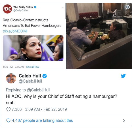 Twitter post by @CalebJHull: Hi AOC, why is your Chief of Staff eating a hamburger? smh