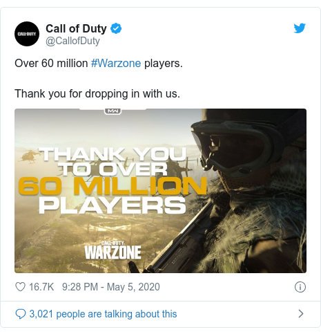 Twitter post by @CallofDuty: Over 60 million #Warzone players.  Thank you for dropping in with us.