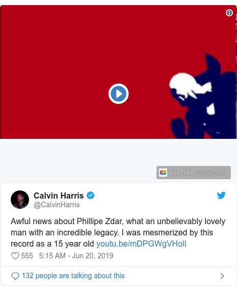 Twitter post by @CalvinHarris: Awful news about Phillipe Zdar, what an unbelievably lovely man with an incredible legacy. I was mesmerized by this record as a 15 year old
