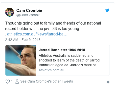Twitter post by @CamCrombie: Thoughts going out to family and friends of our national record holder with the jav - 33 is too young..