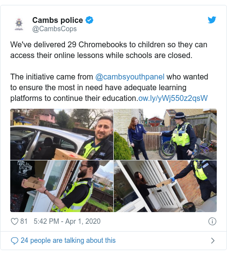 Twitter post by @CambsCops: We've delivered 29 Chromebooks to children so they can access their online lessons while schools are closed.The initiative came from @cambsyouthpanel who wanted to ensure the most in need have adequate learning platforms to continue their education.