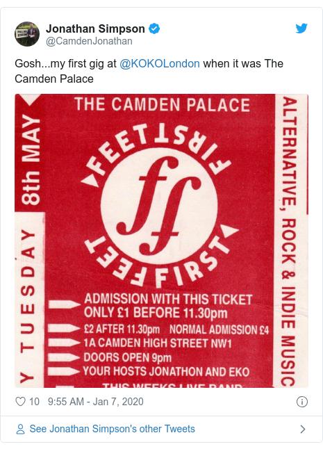 Twitter post by @CamdenJonathan: Gosh...my first gig at @KOKOLondon when it was The Camden Palace
