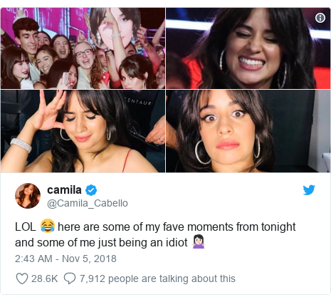 Twitter post by @Camila_Cabello: LOL 😂 here are some of my fave moments from tonight and some of me just being an idiot 🤷🏻♀️