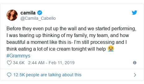 Twitter post by @Camila_Cabello: Before they even put up the wall and we started performing, I was tearing up thinking of my family, my team, and how beautiful a moment like this is- I'm still processing and I think eating a lot of ice cream tonight will help 😭 #Grammys