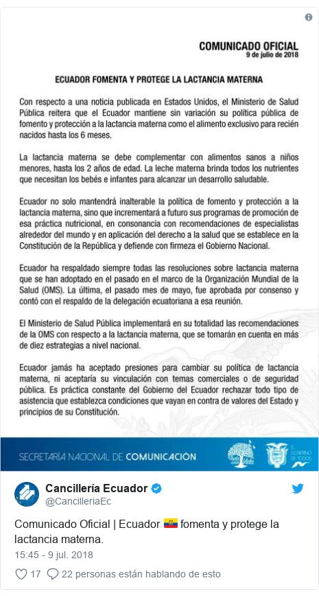 Publicación de Twitter por @CancilleriaEc: Comunicado Oficial | Ecuador 🇪🇨 fomenta y protege la lactancia materna.
