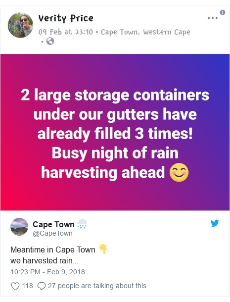 Twitter post by @CapeTown: Meantime in Cape Town 👇we harvested rain...