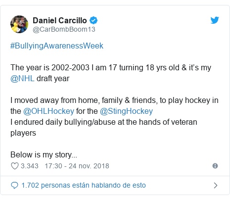 Publicación de Twitter por @CarBombBoom13: #BullyingAwarenessWeekThe year is 2002-2003 I am 17 turning 18 yrs old & it's my @NHL draft yearI moved away from home, family & friends, to play hockey in the @OHLHockey for the @StingHockeyI endured daily bullying/abuse at the hands of veteran playersBelow is my story...