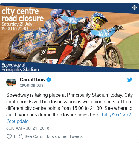 Twitter post by @Cardiffbus: Speedway is taking place at Principality Stadium today. City centre roads will be closed & buses will divert and start from different city centre points from 15 00 to 21 30. See where to catch your bus during the closure times here   #cbupdate