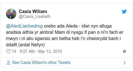 Neges Twitter gan @Casia_Lisabeth: @AledLlanbedrog orebo ada Aleda - idwi nyn alluga aradsia aithia yr ainbra! Mam di nysgu fi pan o ni'n fach er mwyn i ni allu sgwrsio am betha heb i'n chwiorydd bach i ddallt (ardal Nefyn)