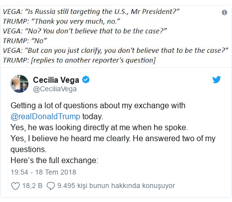 @CeciliaVega tarafından yapılan Twitter paylaşımı: Getting a lot of questions about my exchange with @realDonaldTrump today.Yes, he was looking directly at me when he spoke.Yes, I believe he heard me clearly. He answered two of my questions.Here's the full exchange