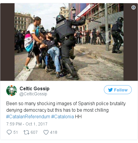 Twitter post by @CelticGossip: Been so many shocking images of Spanish police brutality denying democracy but this has to be most chilling #CatalanReferendum #Catalonia HH