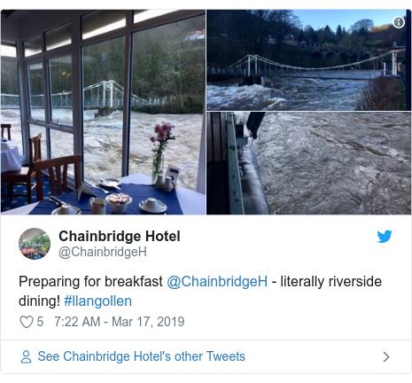 Twitter post by @ChainbridgeH: Preparing for breakfast @ChainbridgeH - literally riverside dining! #llangollen
