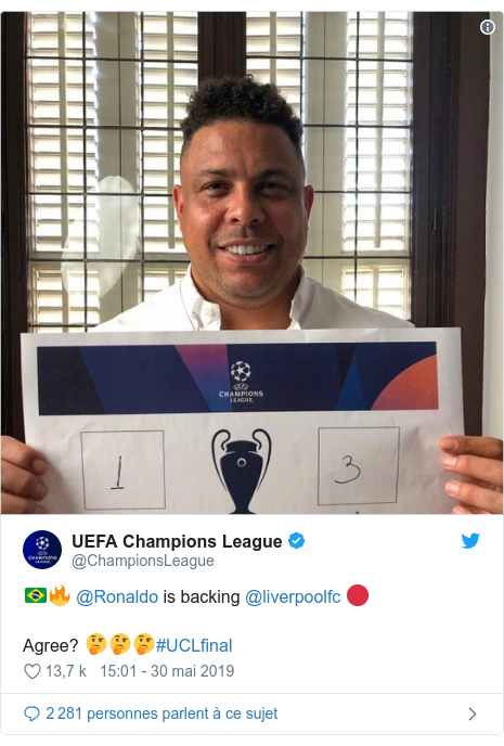 Twitter post by @ChampionsLeague: 🇧🇷🔥 @Ronaldo is backing @liverpoolfc 🔴Agree? 🤔🤔🤔#UCLfinal