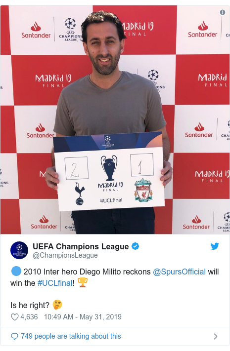 Twitter post by @ChampionsLeague: 🔵 2010 Inter hero Diego Milito reckons @SpursOfficial will win the #UCLfinal! 🏆Is he right? 🤔