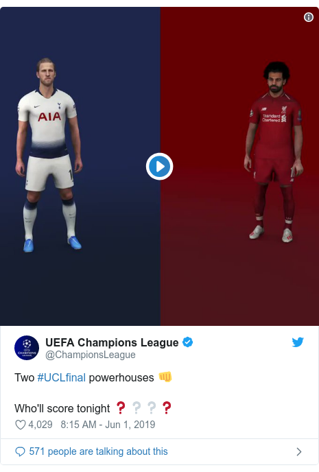 Twitter post by @ChampionsLeague: Two #UCLfinal powerhouses 👊Who'll score tonight ❓❔❔❓