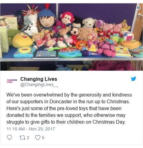 Twitter post by @ChangingLives__: We've been overwhelmed by the generosity and kindness of our supporters in Doncaster in the run up to Christmas. Here's just some of the pre-loved toys that have been donated to the families we support, who otherwise may struggle to give gifts to their children on Christmas Day.