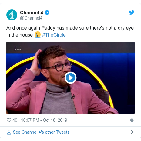 Twitter post by @Channel4: And once again Paddy has made sure there's not a dry eye in the house 😭 #TheCircle