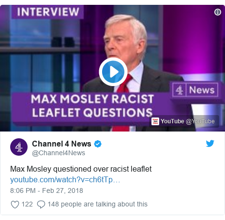 Twitter post by @Channel4News: Max Mosley questioned over racist leaflet