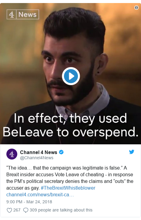 """Twitter post by @Channel4News: """"The idea… that the campaign was legitimate is false."""" A Brexit insider accuses Vote Leave of cheating - in response the PM's political secretary denies the claims and """"outs"""" the accuser as gay. #TheBrexitWhistleblower"""