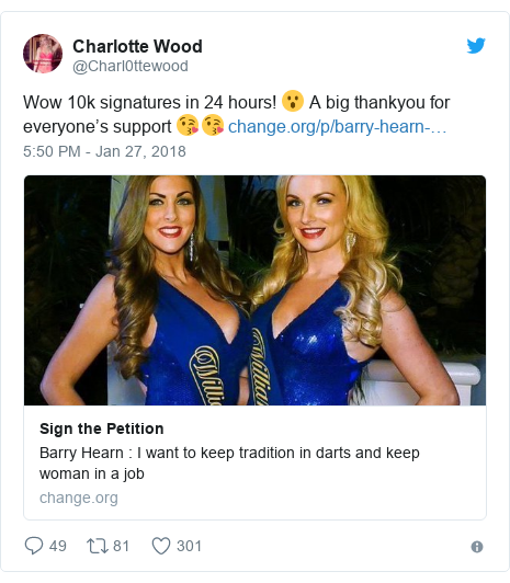 Twitter post by @Charl0ttewood: Wow 10k signatures in 24 hours! 😮 A big thankyou for everyone's support 😘😘