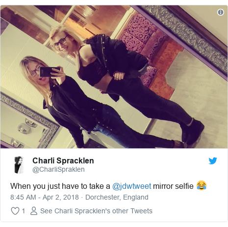 Twitter post by @CharliSpraklen: When you just have to take a @jdwtweet mirror selfie 😂