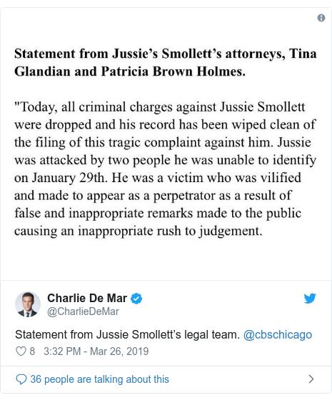 Twitter post by @CharlieDeMar: Statement from Jussie Smollett's legal team. @cbschicago