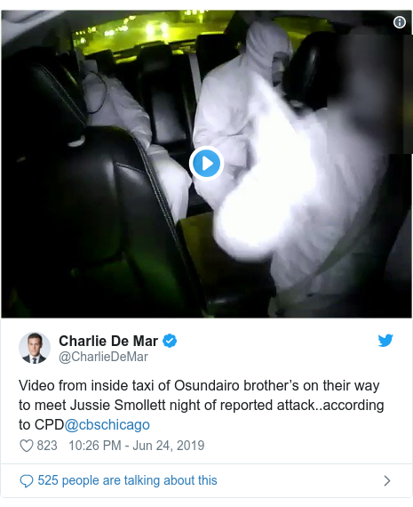 Twitter post by @CharlieDeMar: Video from inside taxi of Osundairo brother's on their way to meet Jussie Smollett night of reported attack..according to CPD@cbschicago