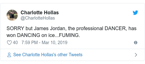 Twitter post by @CharlotteHollas: SORRY but James Jordan, the professional DANCER, has won DANCING on ice...FUMING.