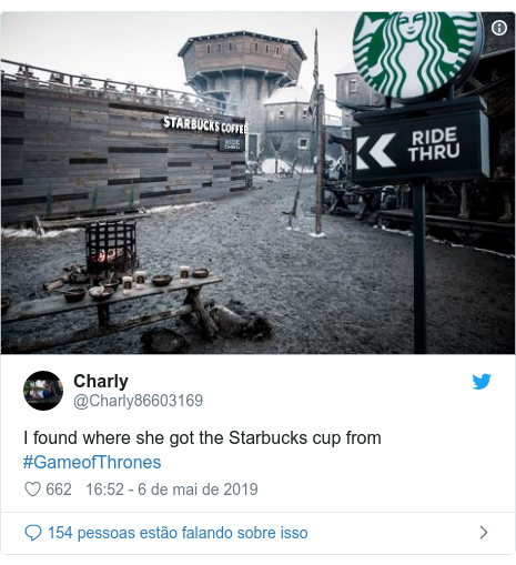 Twitter post de @Charly86603169: I found where she got the Starbucks cup from #GameofThrones