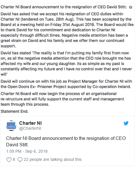 Twitter post by @CharterNI: Charter NI Board announcement to the resignation of CEO David Stitt
