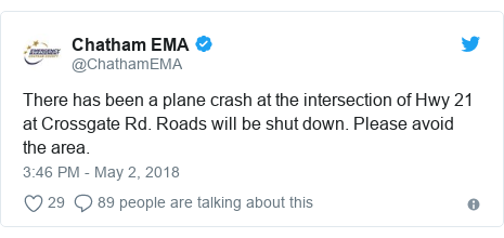 Twitter post by @ChathamEMA: There has been a plane crash at the intersection of Hwy 21 at Crossgate Rd. Roads will be shut down. Please avoid the area.