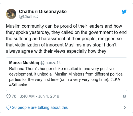 Twitter හි @ChathsD කළ පළකිරීම: Muslim community can be proud of their leaders and how they spoke yesterday, they called on the government to end the suffering and harassment of their people, resigned so that victimization of innocent Muslims may stop! I don't always agree with their views especially how they