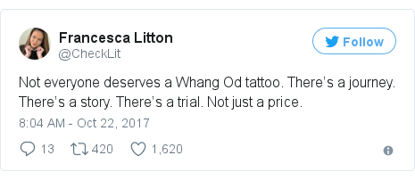 Twitter post by @CheckLit: Not everyone deserves a Whang Od tattoo. There's a journey. There's a story. There's a trial. Not just a price.