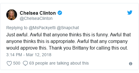 Twitter post by @ChelseaClinton: Just awful. Awful that anyone thinks this is funny. Awful that anyone thinks this is appropriate. Awful that any company would approve this. Thank you Brittany for calling this out.