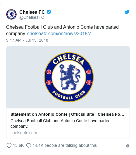Twitter post by @ChelseaFC: Chelsea Football Club and Antonio Conte have parted company.
