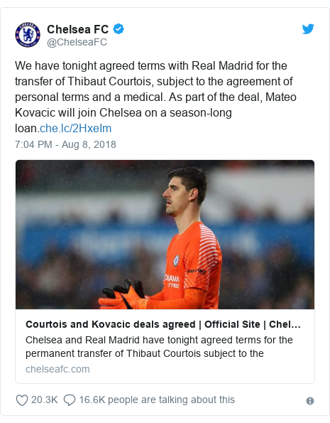 Twitter post by @ChelseaFC: We have tonight agreed terms with Real Madrid for the transfer of Thibaut Courtois, subject to the agreement of personal terms and a medical. As part of the deal, Mateo Kovacic will join Chelsea on a season-long loan.