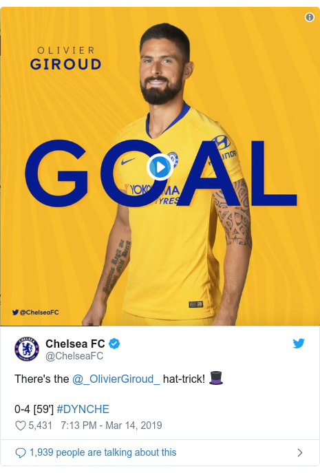 Twitter post by @ChelseaFC: There's the @_OlivierGiroud_ hat-trick! 🎩0-4 [59'] #DYNCHE